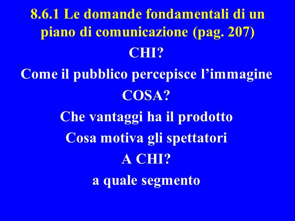 8.6.1 Le domande fondamentali di un piano di comunicazione (pag. 207)