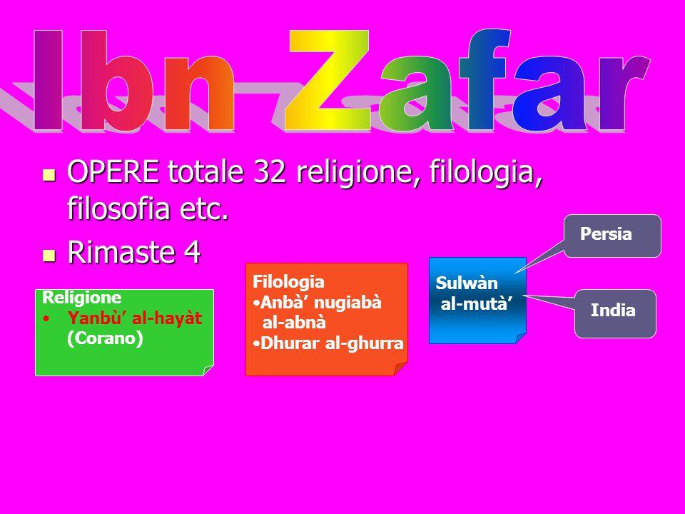 Ibn Zafar OPERE totale 32 religione, filologia, filosofia etc.