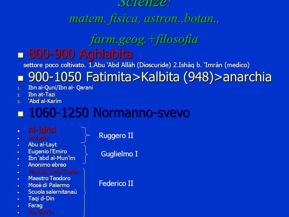 Scienze: matem. fisica, astron.,botan., farm.geog.+filosofia