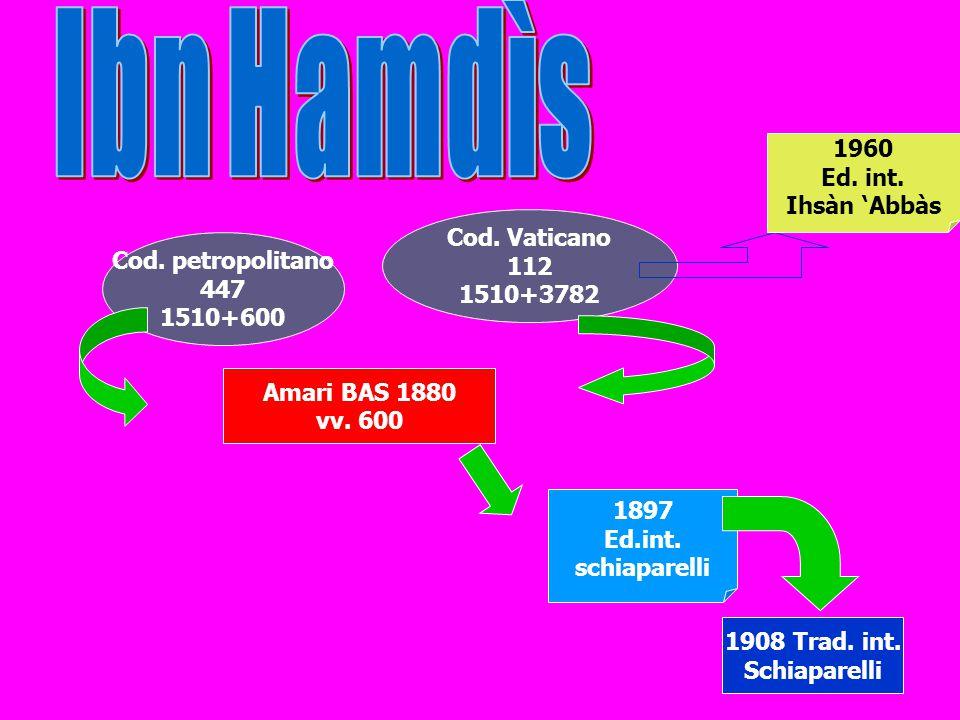 Ibn Hamdìs 1960 Ed. int. Ihsàn 'Abbàs Cod. Vaticano 112