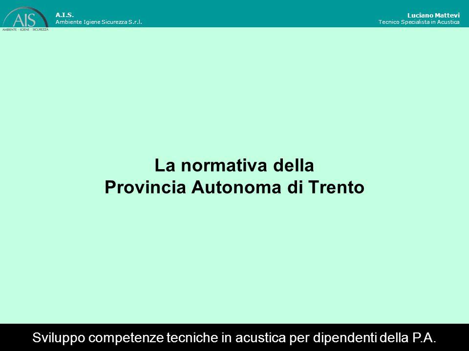 La normativa della Provincia Autonoma di Trento