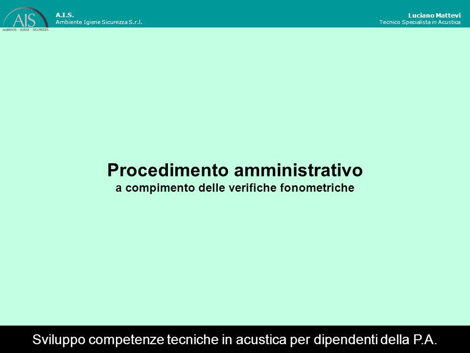 Procedimento amministrativo a compimento delle verifiche fonometriche