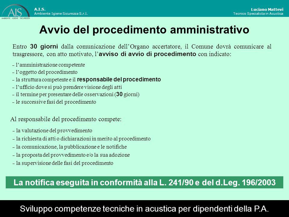Avvio del procedimento amministrativo