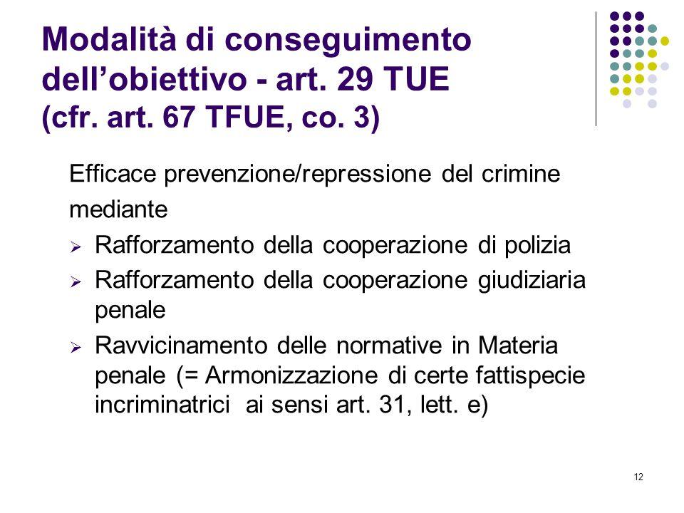 Modalità di conseguimento dell'obiettivo - art. 29 TUE (cfr. art