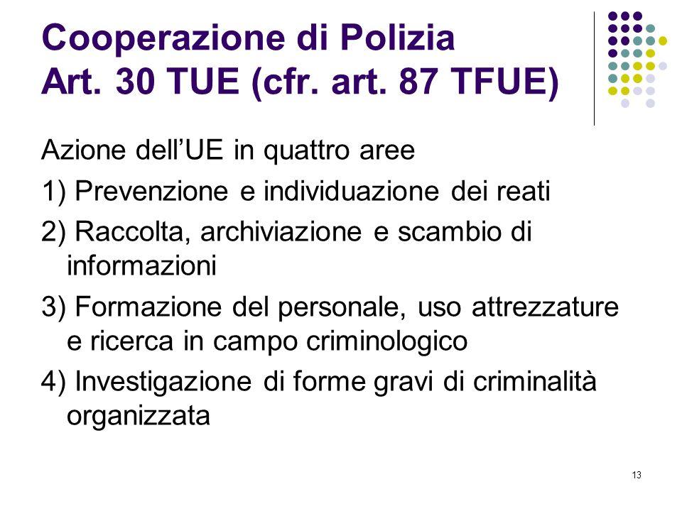 Cooperazione di Polizia Art. 30 TUE (cfr. art. 87 TFUE)