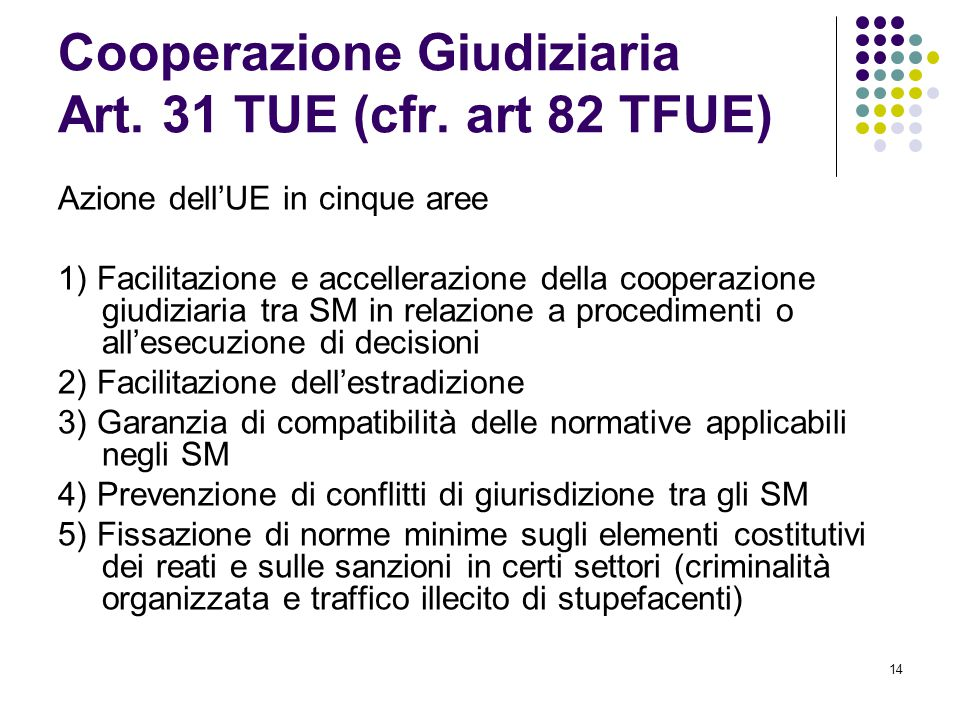 Cooperazione Giudiziaria Art. 31 TUE (cfr. art 82 TFUE)