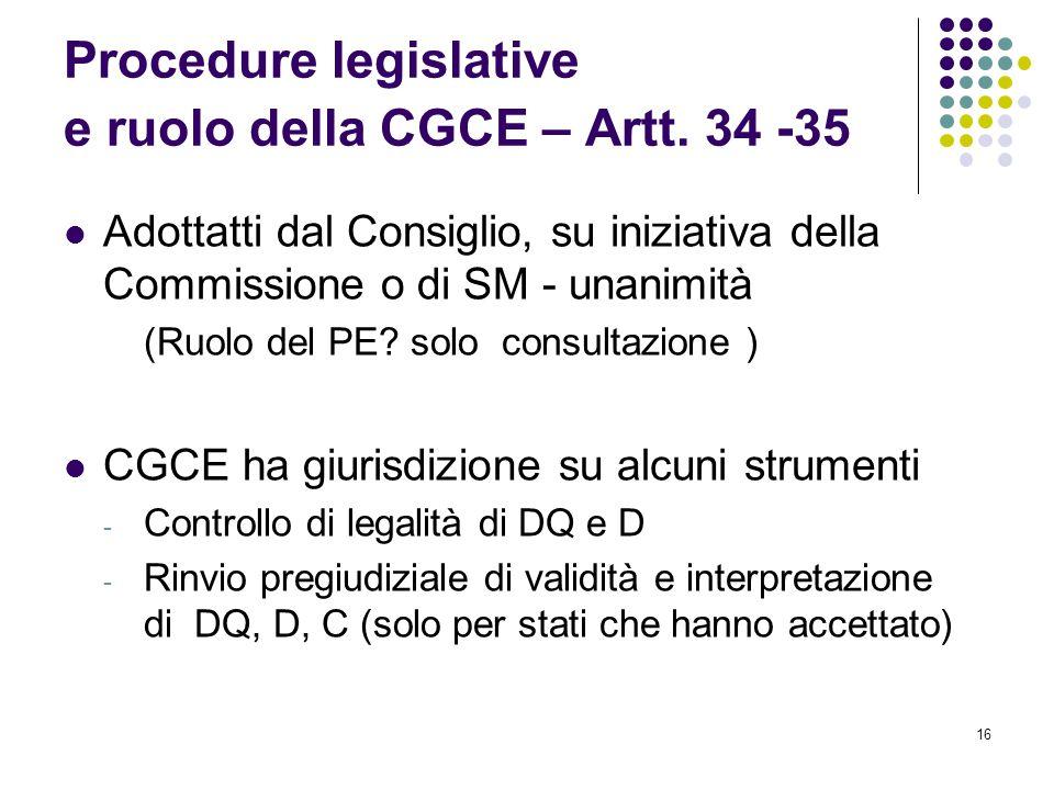 Procedure legislative e ruolo della CGCE – Artt. 34 -35