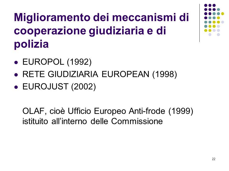 Miglioramento dei meccanismi di cooperazione giudiziaria e di polizia