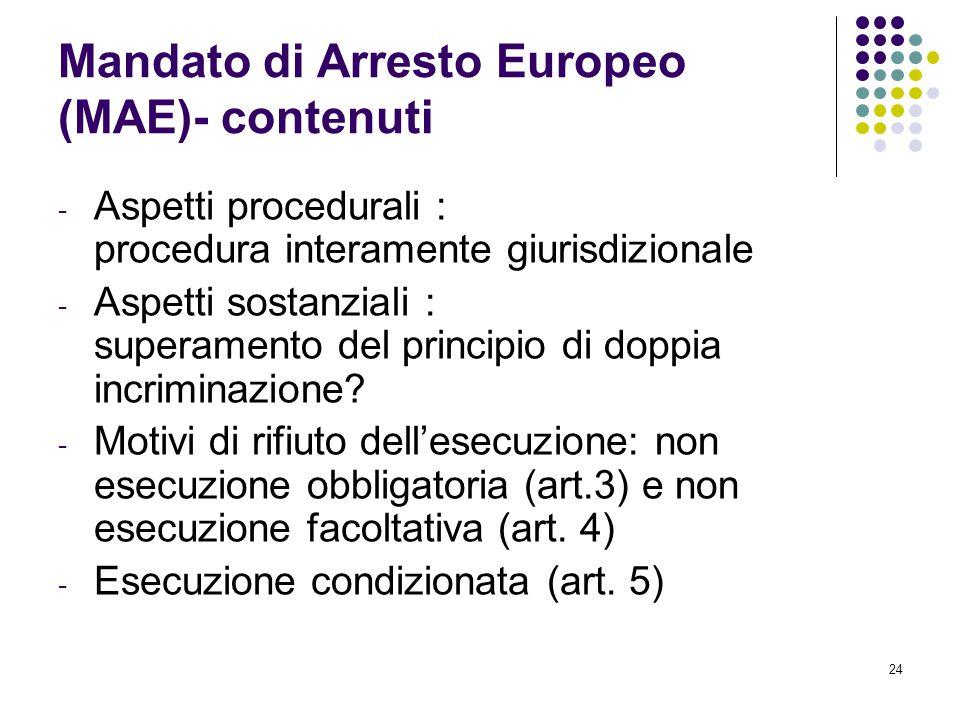 Mandato di Arresto Europeo (MAE)- contenuti