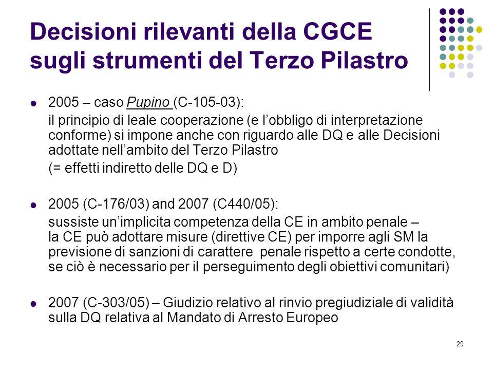 Decisioni rilevanti della CGCE sugli strumenti del Terzo Pilastro
