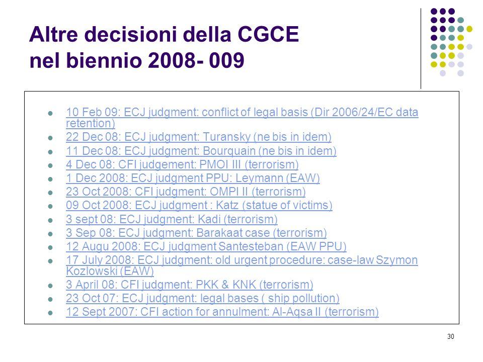 Altre decisioni della CGCE nel biennio 2008- 009