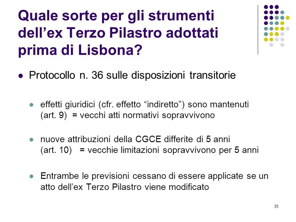 Quale sorte per gli strumenti dell'ex Terzo Pilastro adottati prima di Lisbona