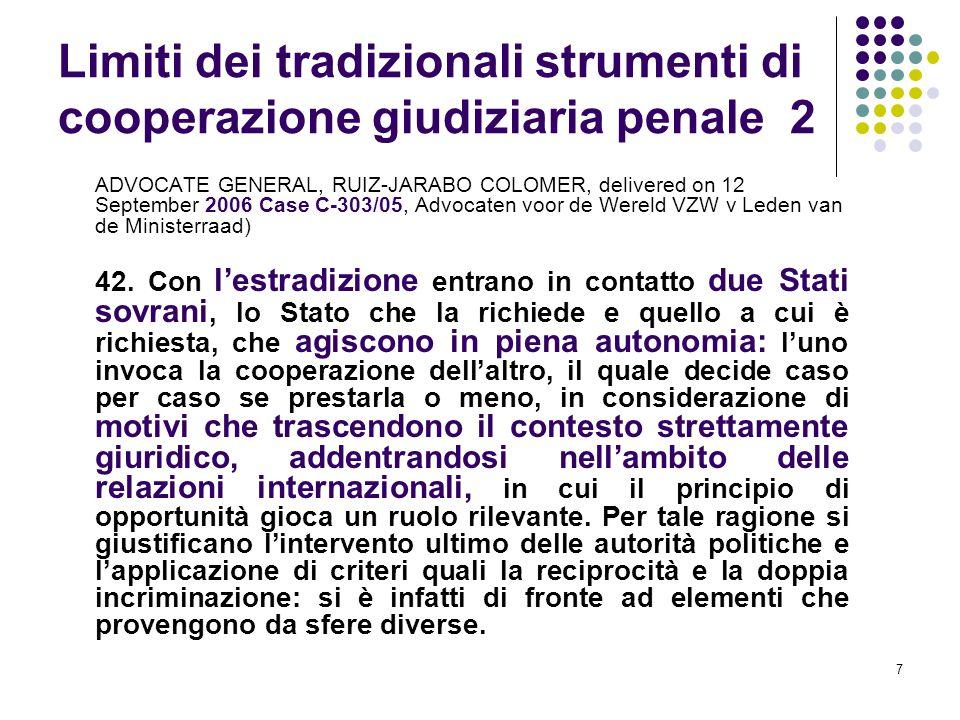 Limiti dei tradizionali strumenti di cooperazione giudiziaria penale 2
