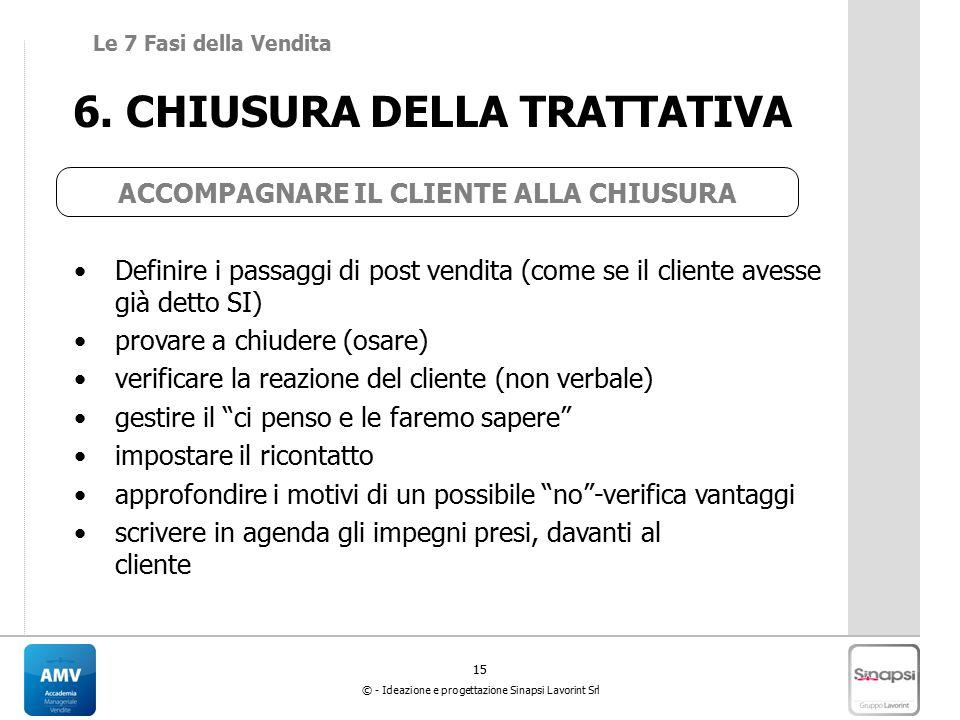 6. CHIUSURA DELLA TRATTATIVA