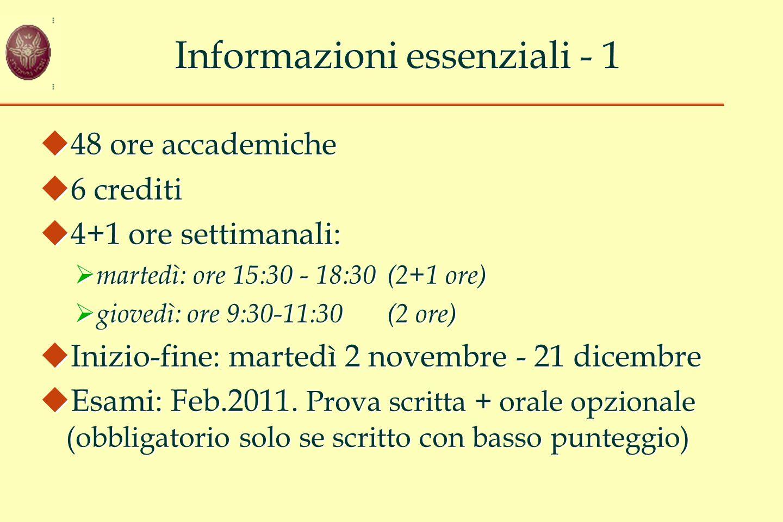 Informazioni essenziali - 1
