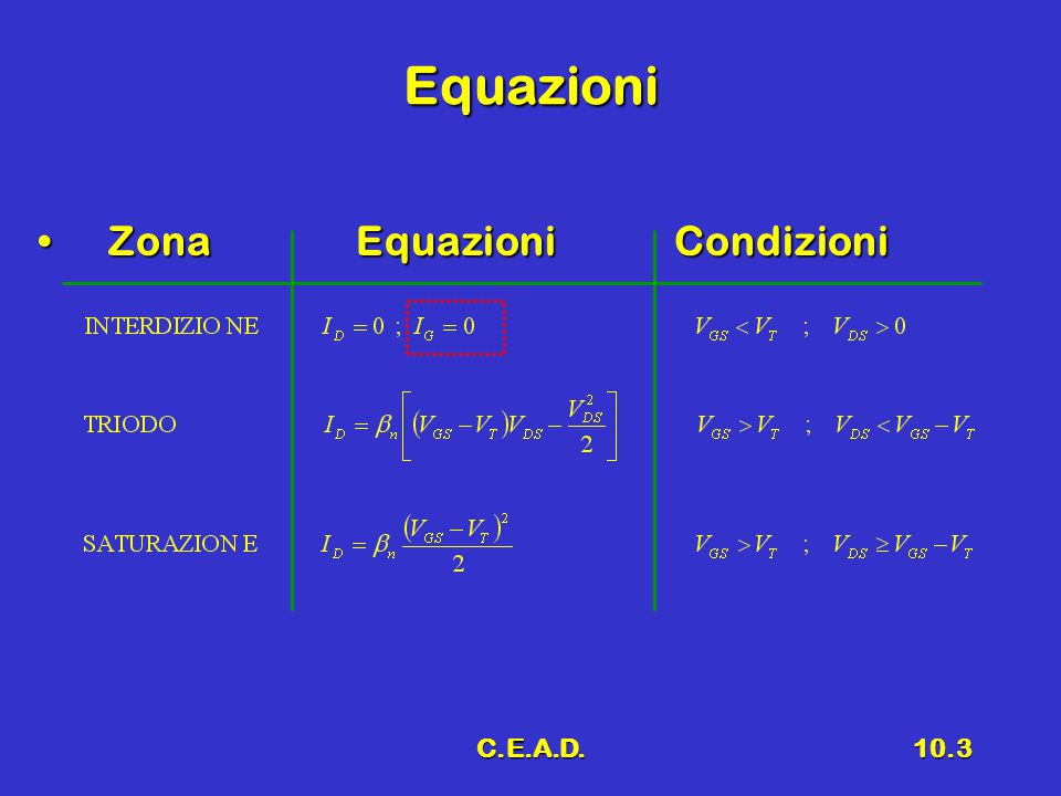 Equazioni Zona Equazioni Condizioni C.E.A.D.