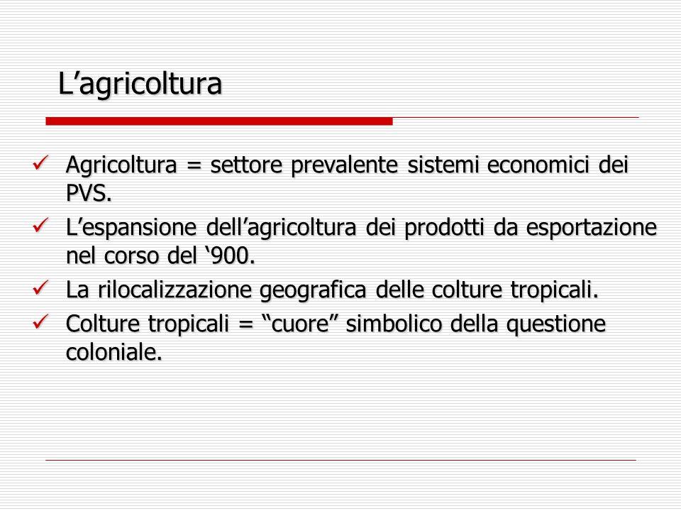 L'agricoltura Agricoltura = settore prevalente sistemi economici dei PVS.