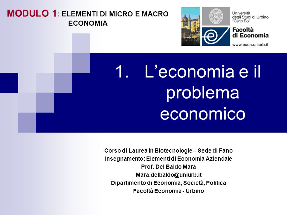 L'economia e il problema economico