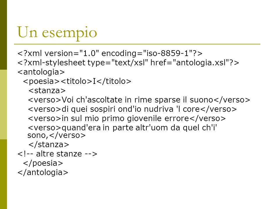 Un esempio < xml version= 1.0 encoding= iso-8859-1 >