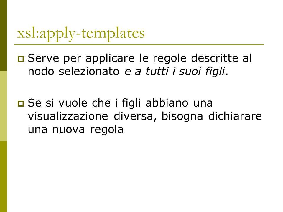 xsl:apply-templates Serve per applicare le regole descritte al nodo selezionato e a tutti i suoi figli.