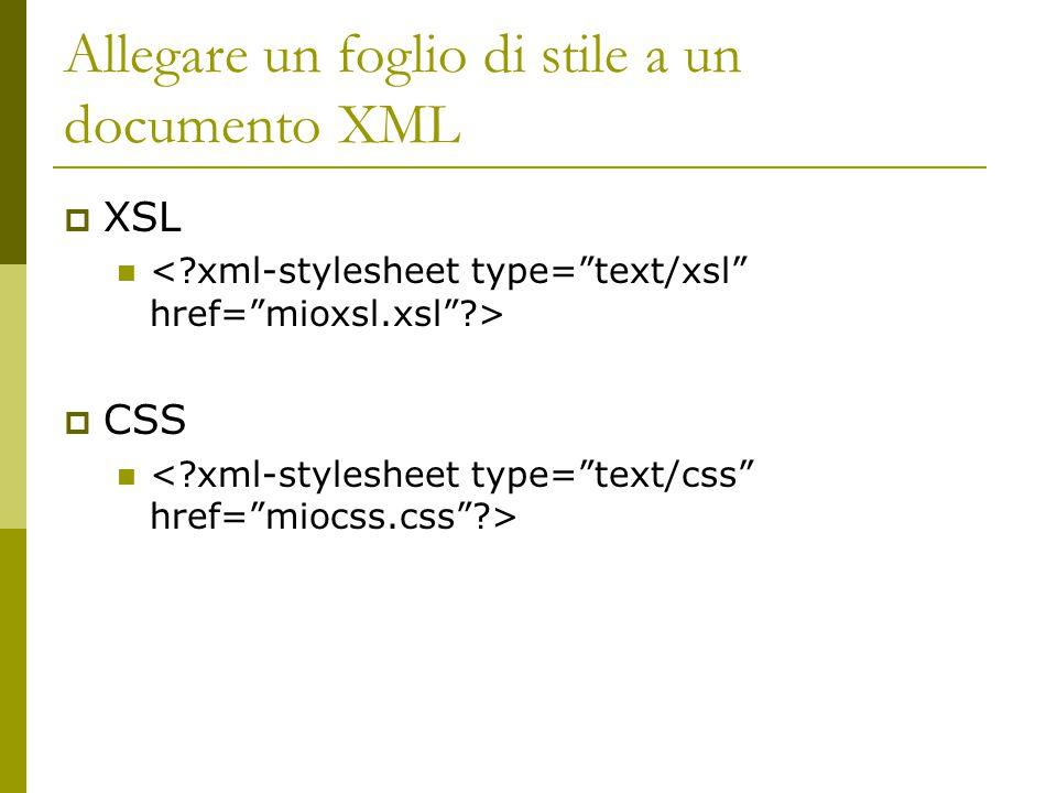 Allegare un foglio di stile a un documento XML