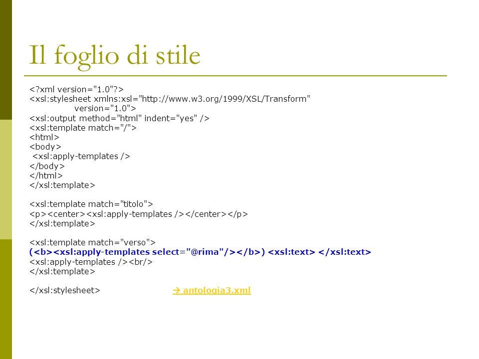 Il foglio di stile < xml version= 1.0 >
