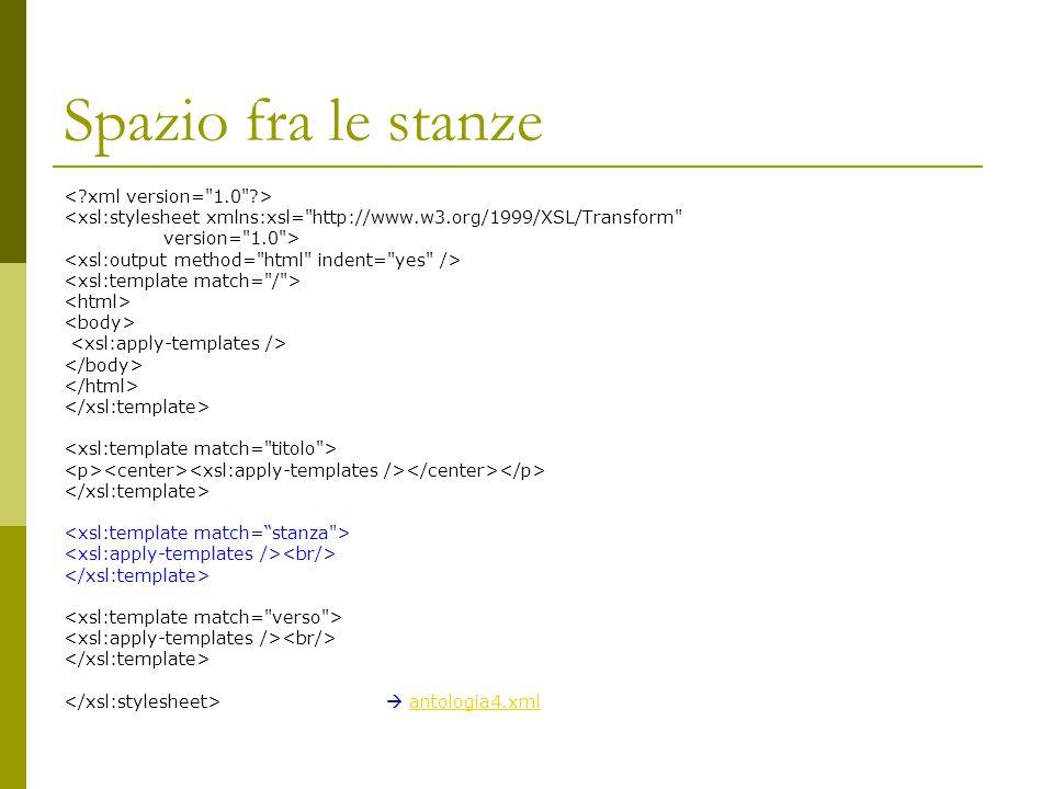 Spazio fra le stanze < xml version= 1.0 >