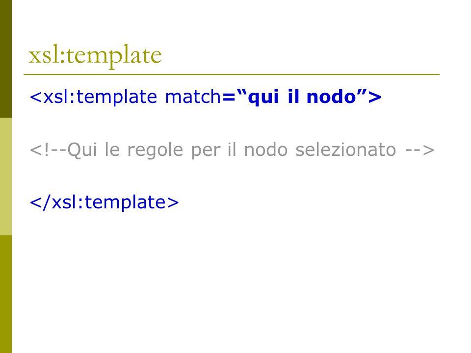 xsl:template <xsl:template match= qui il nodo >