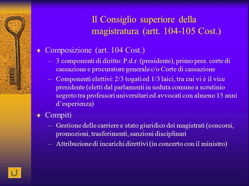 Il Consiglio superiore della magistratura (artt. 104-105 Cost.)