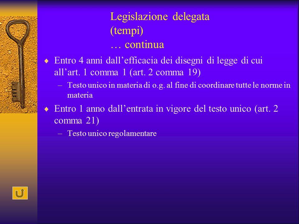 Legislazione delegata (tempi) … continua
