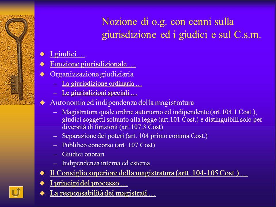 Nozione di o. g. con cenni sulla giurisdizione ed i giudici e sul C. s