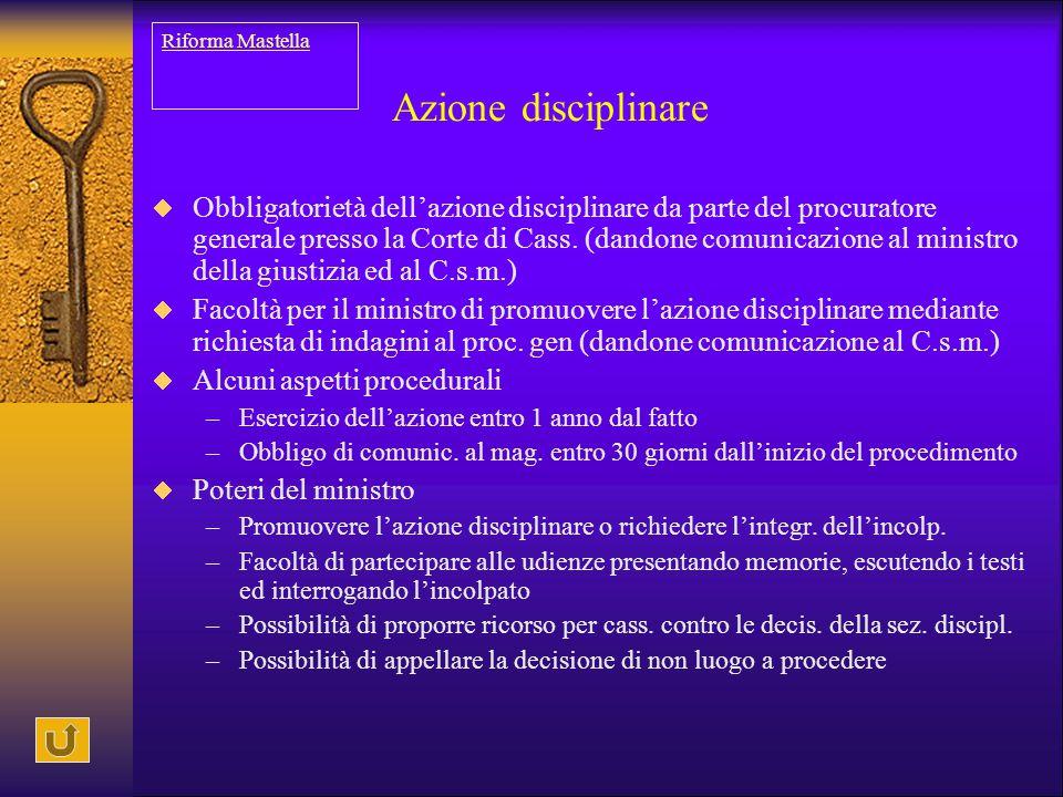 Riforma Mastella Azione disciplinare.