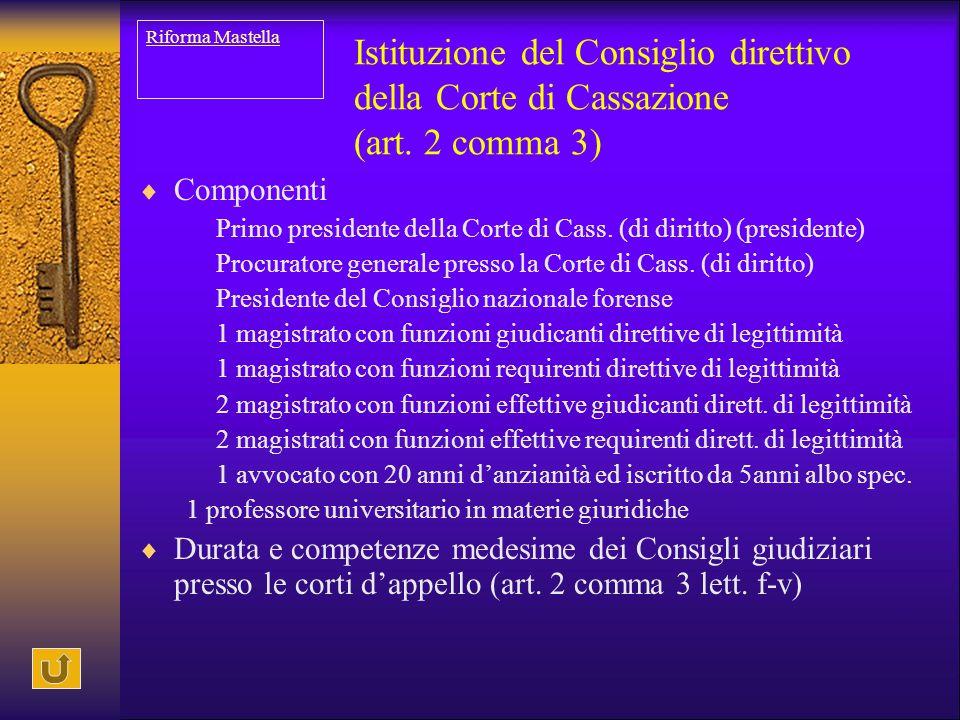 Riforma Mastella Istituzione del Consiglio direttivo della Corte di Cassazione (art. 2 comma 3) Componenti.