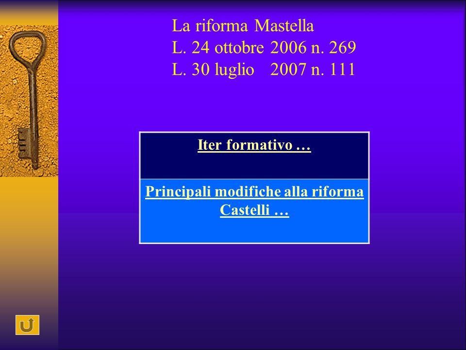 La riforma Mastella L. 24 ottobre 2006 n. 269 L. 30 luglio 2007 n. 111