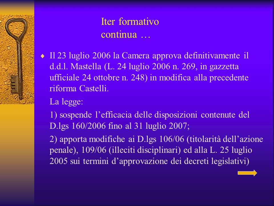 Iter formativo continua …