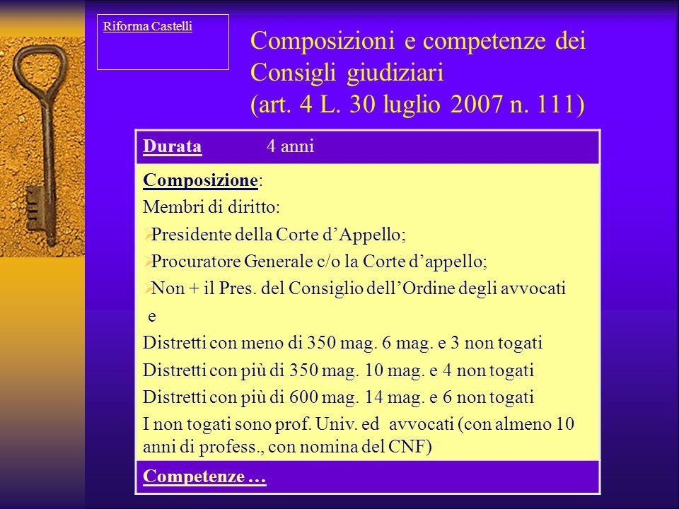 Riforma Castelli Composizioni e competenze dei Consigli giudiziari (art. 4 L. 30 luglio 2007 n. 111)