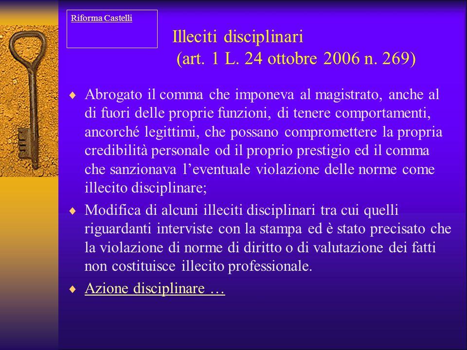Illeciti disciplinari (art. 1 L. 24 ottobre 2006 n. 269)