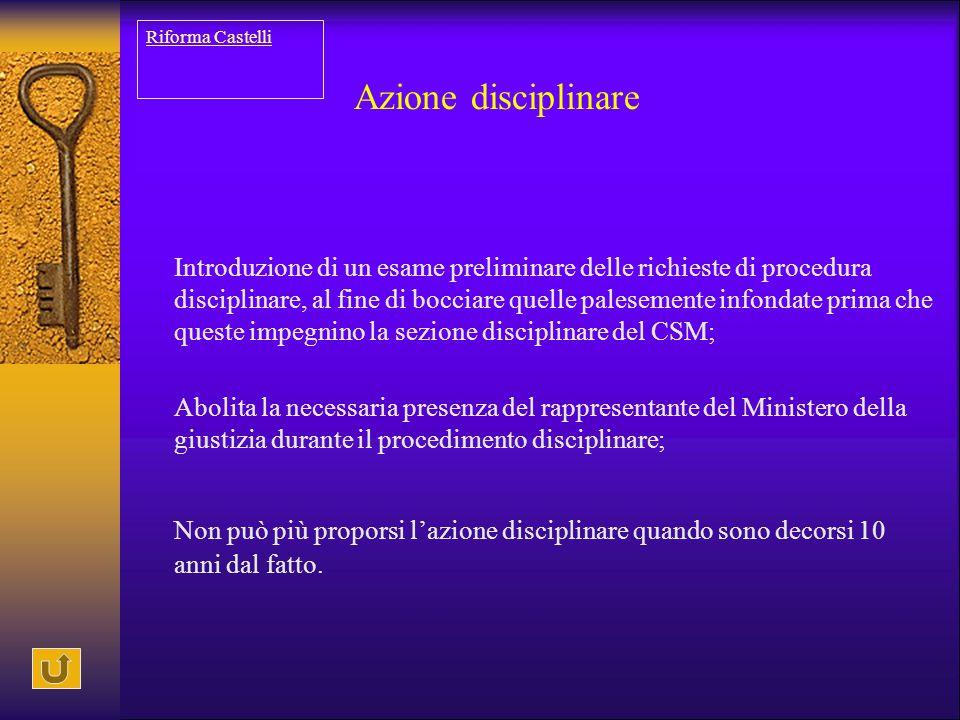 Riforma Castelli Azione disciplinare.