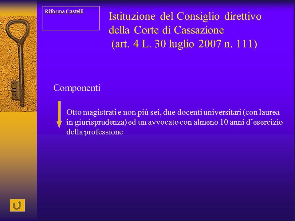 Riforma Castelli Istituzione del Consiglio direttivo della Corte di Cassazione (art. 4 L. 30 luglio 2007 n. 111)