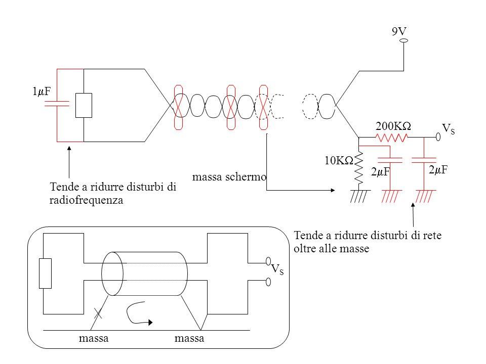 9V VS. 200K 10K 2F. 1F. massa schermo. Tende a ridurre disturbi di radiofrequenza. Tende a ridurre disturbi di rete oltre alle masse.