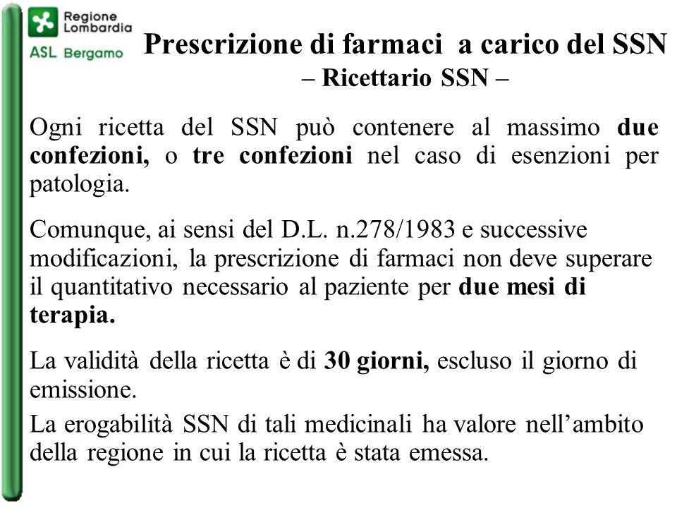 Prescrizione di farmaci a carico del SSN – Ricettario SSN –