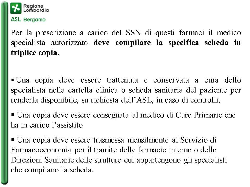 Per la prescrizione a carico del SSN di questi farmaci il medico specialista autorizzato deve compilare la specifica scheda in triplice copia.