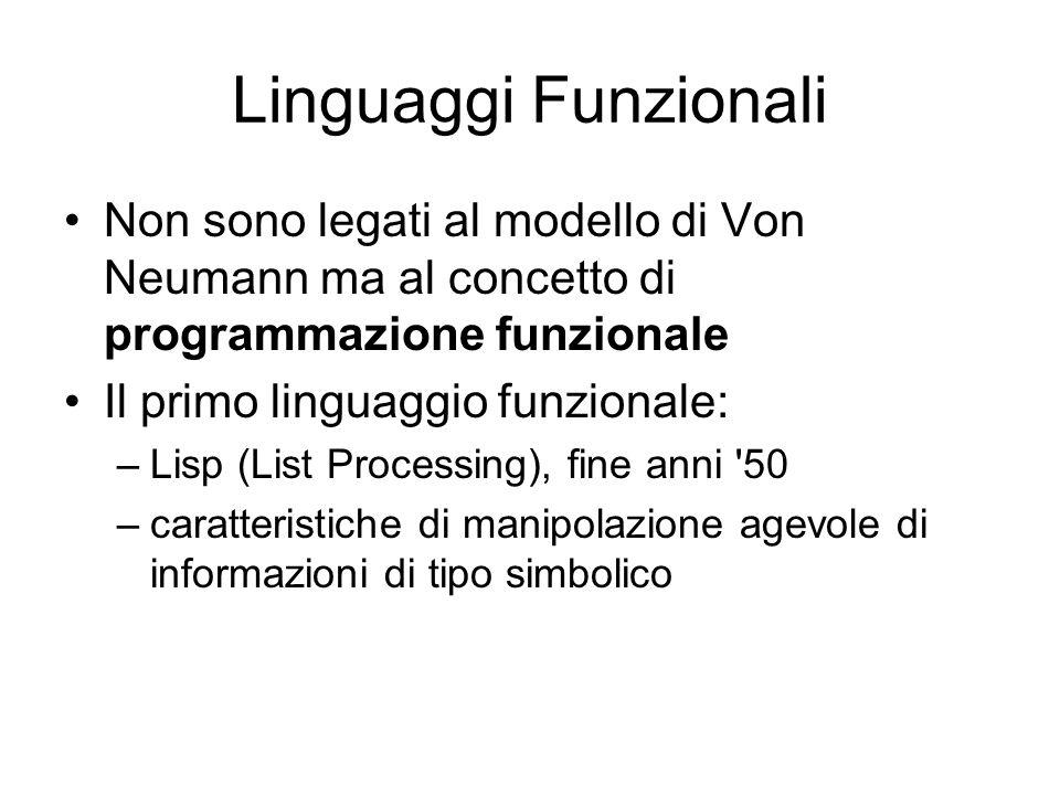 Linguaggi Funzionali Non sono legati al modello di Von Neumann ma al concetto di programmazione funzionale.