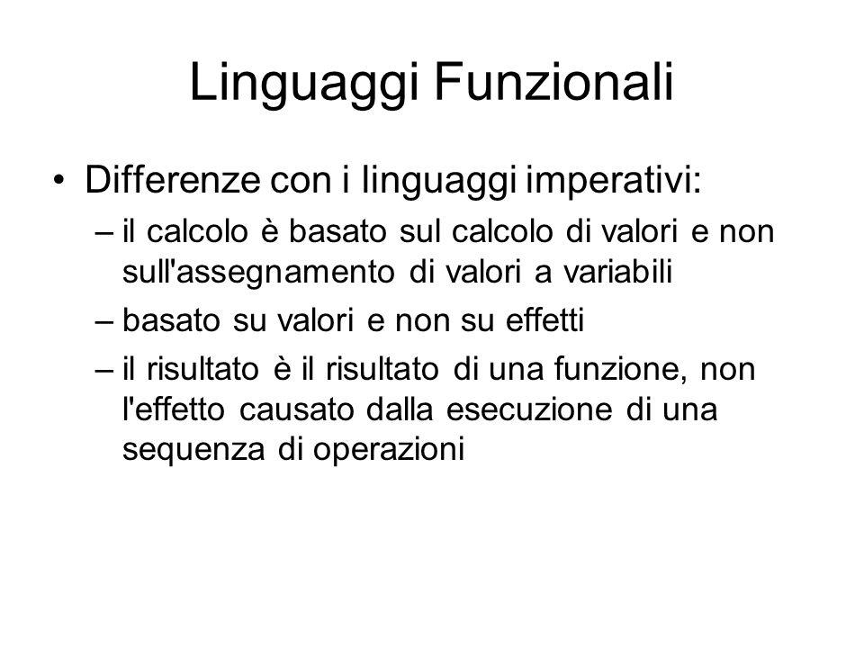 Linguaggi Funzionali Differenze con i linguaggi imperativi: