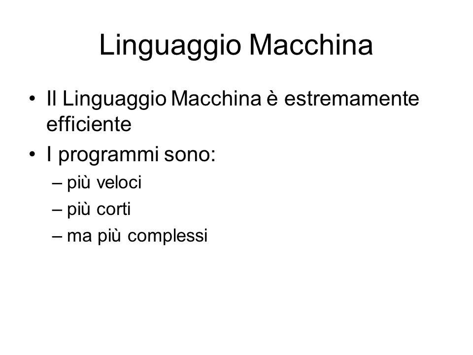 Linguaggio Macchina Il Linguaggio Macchina è estremamente efficiente