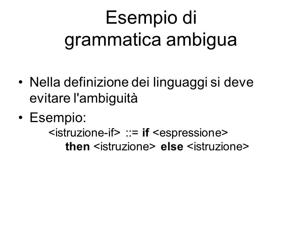 Esempio di grammatica ambigua