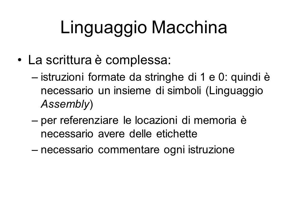 Linguaggio Macchina La scrittura è complessa: