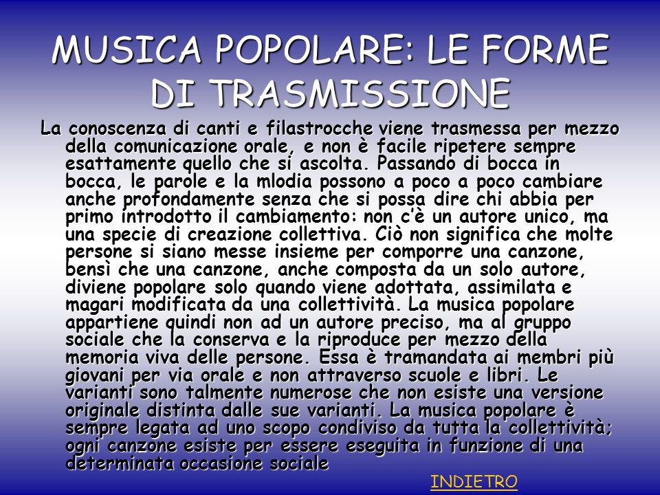 MUSICA POPOLARE: LE FORME DI TRASMISSIONE