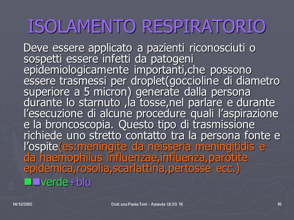 ISOLAMENTO RESPIRATORIO