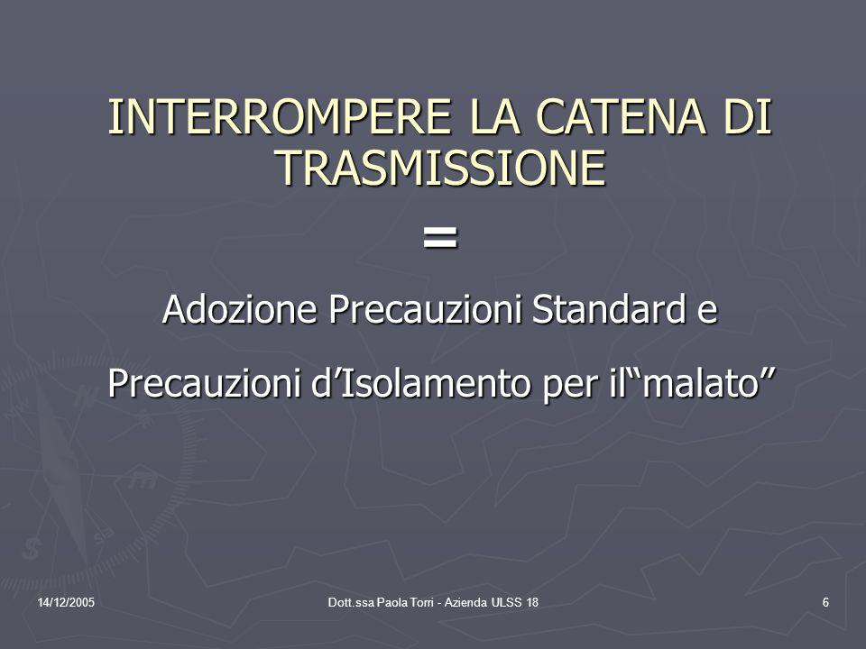 = INTERROMPERE LA CATENA DI TRASMISSIONE